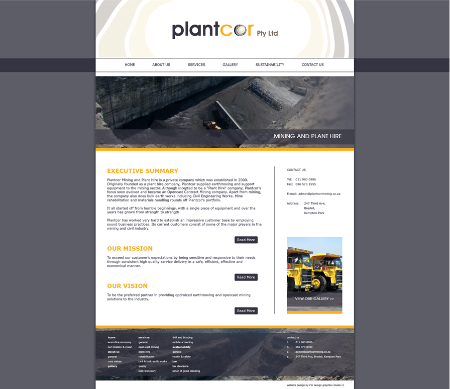 Plantcor Mining and plant hire website design