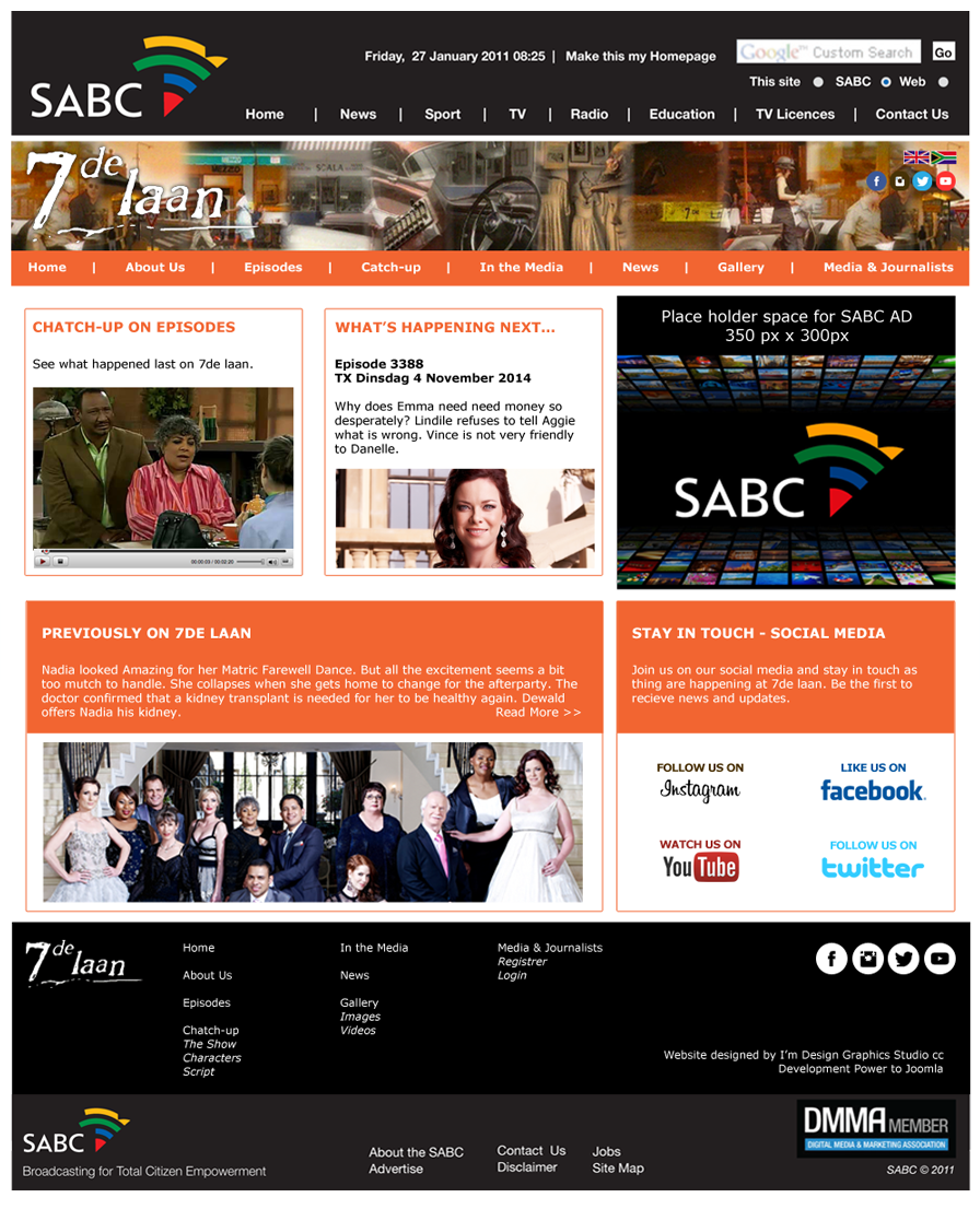 SABC 7de Laan Website Design